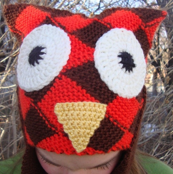 Woven Owl hat with long earflaps