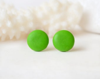 Lime green Stud earrings green studs, green earrings, round Chartreuse studs green posts, minimalist green stud polymer clay studs button