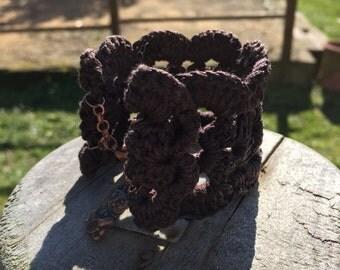 Brown crochet cuff/Brown crochet bracelet
