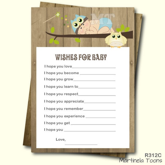 blue owl wishes for baby card well wishes boy babyshower