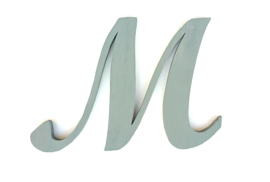 Cursive Letter M Baby Girl Names Large Wall Decor Wooden Gray