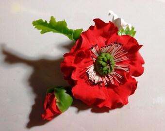 bright red poppy brooch, handmade jewelry, flower brooch