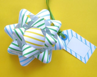 Striped Bows & Tags in Turquoise, Green and Yellow - DIY, Instant Download, Gift Wrap, Digital Print, Cut Out Craft, Craft Kit