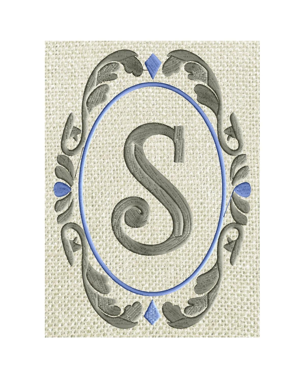 Damask font frame monogram embroidery design not