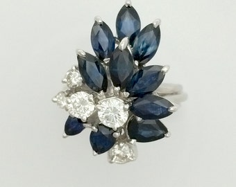 2.40 ct. Sapphire & 0.70 ct. Diamond Hand Made Cocktail Ring - 18K White Gold - Vintage - Antique - Art Deco - Marquis Sapphire Ring