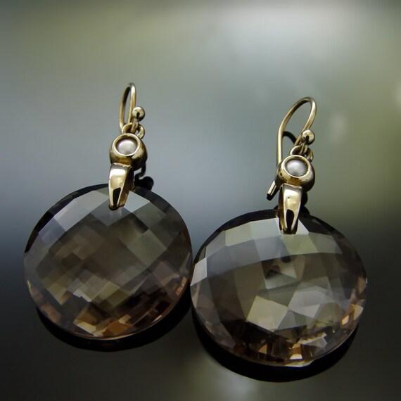 gemstone gold earrings 14k gold large dangle by artisaneffect