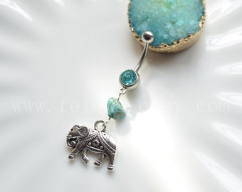 Silvery elephant belly button ring, Navel Piercing, friendship Dangle elephant Belly Ring , Belly Button Piercing, Belly jewelry