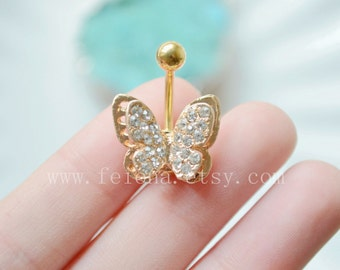 Gold crystal butterfly belly button ring, Navel Piercing, crystal belly rings, Belly piercing , Women Belly Button Piercing, belly jewelry