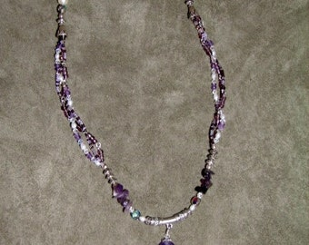 Amethyst and multistrand seed bead necklace