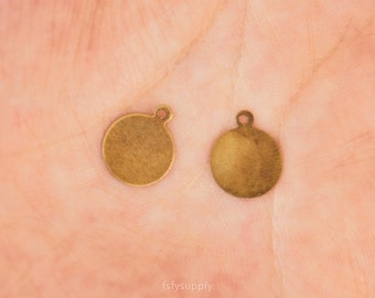 30 pcs 7*16mm Antique Bronze Antique Blank Thin 10mm Disc Charms