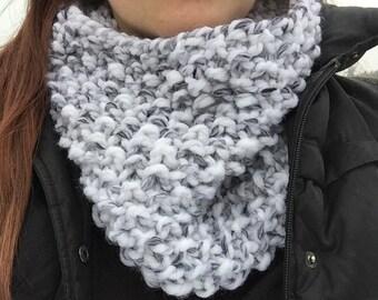 White & Grey Chunky Knit Cowl