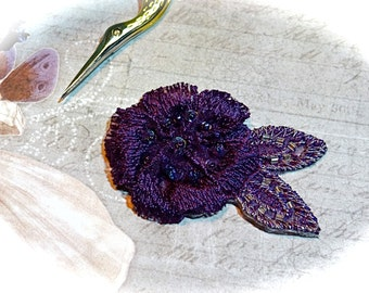 Embroidered Applique Purple with Beads  Sewing Supplies AP-105