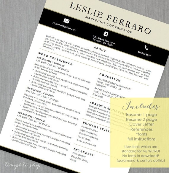 cv resume template for ms word the i need it now by