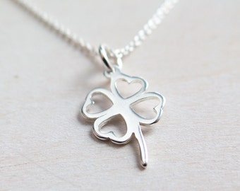 Graduation Gift for her, 4 Leaf Clover Necklace, Sterling Silver, Shamrock Necklace, Four Leaf Clover, Lucky Charm, Good Luck Jewelry