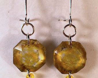 Vintage Chandelier Crystal Prism Earrings Gold/Yellow
