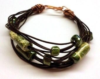 Leather Bracelet, Green Ceramics, Primitive Artisan Raku Green Ceramic Bracelet, Copper Wire Wrapped Earthy Bracelet Handmade Salakaappi