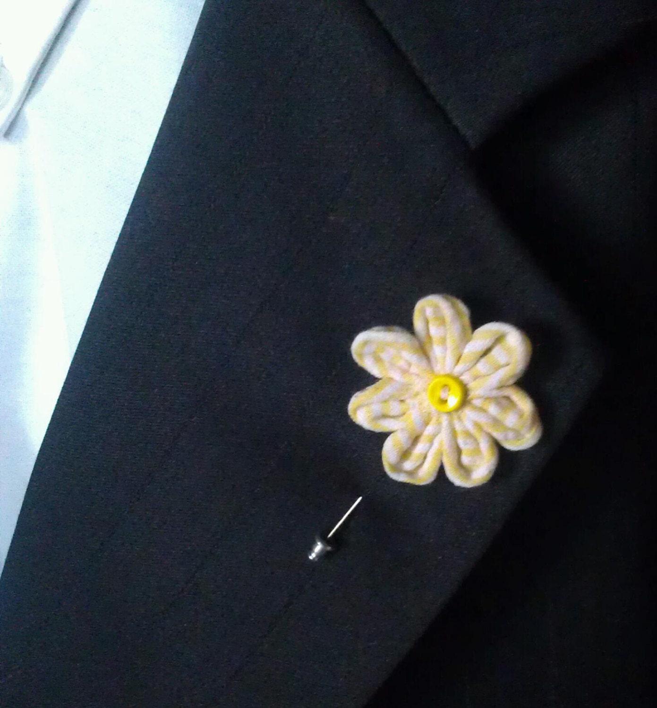 Yellow and White Lapel Flower Pin Men s Lapel Flower