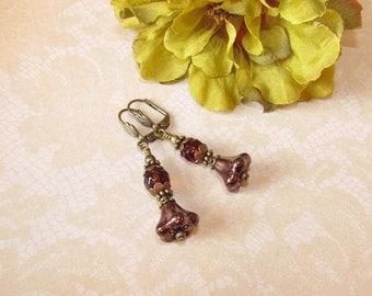Bronze bellflower dangle crystal earrings
