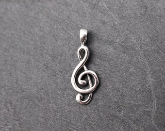 Treble Clef Pendant / Charm -  Sterling Silver, Music