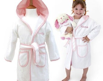 Personalised Children's Towelling Dressing Gown with Hood, Personalized Kids Robes, Personalised Dressing Gowns for Girls, White & Pink