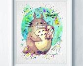 Totoro Art Print Totoros Print Watercolor Nursery Art Colorful Home Decor Wall Art Poster Nursery Baby Gift Kids Wall Art Room Decor A20