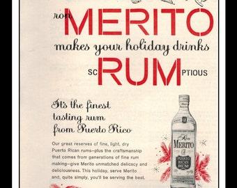 "Vintage Print Ad 1960's : Ron Merito Rum Wall Art Decor 5.5"" x 11"" Advertisement"