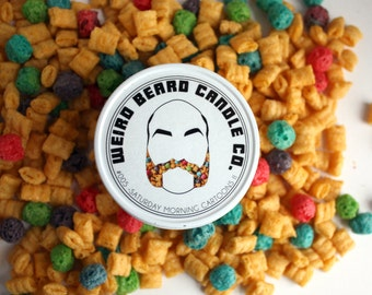 Cereal scented soy man candle crunch berries 8oz soy wax Weird Beard Saturday Morning Cartoons husband teen mens dad brother gift