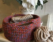 Spa Set Crochet patterns, bath, scrub, bath mitten, bath pouf, back scrubber, basket, girl, women, man