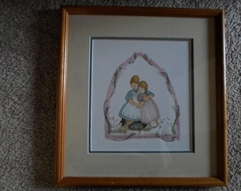 "Rare signed P Buckley Moss print ""Sister Love"" with Certificate of Authenticity"
