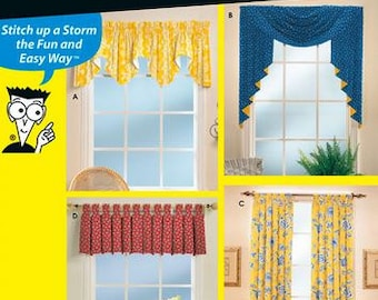 Simplicity Sewing Patterns for Dummies 9566 Window Treatments, Curtains, Valances, Tab Top Curtains - new and uncut