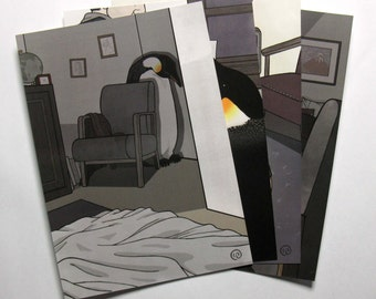 Death and the Penguin - set of four postcards
