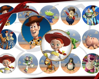 Toy Story images 1 inch round circles