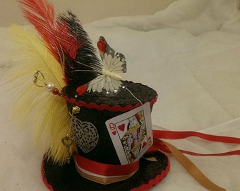Queen Of Hearts Alice in Wonderland Handmade Bespoke Mini Top Hat Mad Hatter Tea Party Wedding Ascot