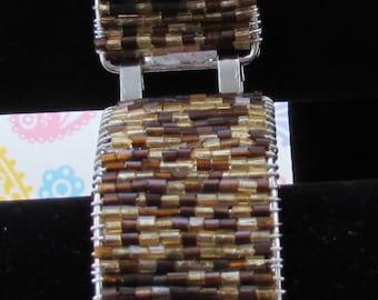 Mixed Brown Bracelet,Jewelry,Bracelets,Seed Bead Bracelets,Wire Wrapped Bracelet,Handmade Jewelry,Handmade Bracelets,Silver Bracelet,Bangles