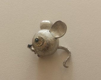 Vintage Marvella Silver Mouse Brooch