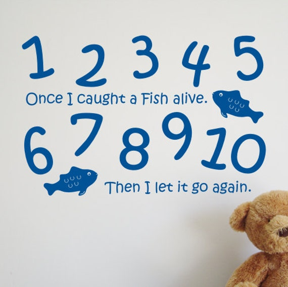 Once i caught a fish alive rhyme wall sticker by createworks for Once i caught a fish alive