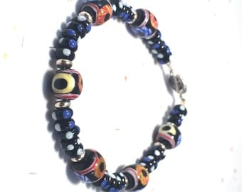Indonesian Lampwork Beads in Black Blue White Orange and Yellows