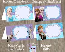Frozen Place Cards, Frozen Food Labels, Frozen Tent Cards, Frozen Birthday, Disney Frozen, Frozen Party, Frozen Party Décor, Food tents