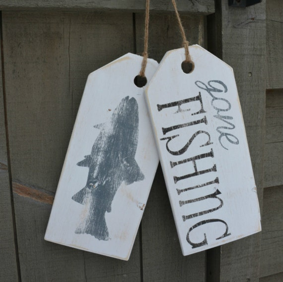 Gone Fishing Signs Decor: Fishing Sign. Wooden Gone Fishing Hanging Tags