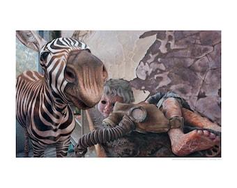 Zebra Fine Art Print, Zebra Art Print, Oil Painting, Fine Art Print, Pop Surrealism, Dystopian Art, Dystopia, Realism,