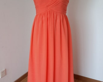 2015 Sweetheart Coral Chiffon Long Bridesmaid Dress
