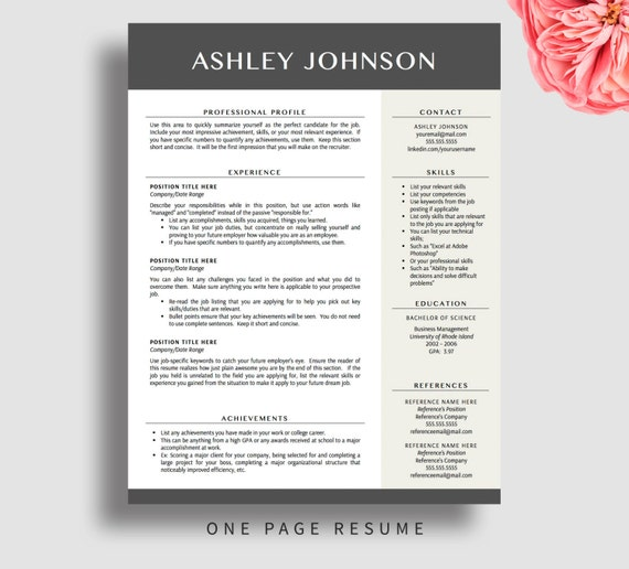 Modern Resume Template For Word & Pages 1 And By