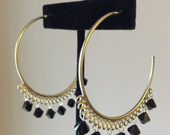 Large Hoop Earrings with Black Swarovski Beads