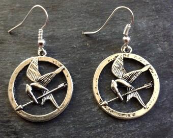 Mockingjay Silver Tone Hook Earrings handmade