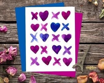 XOXO Hearts love card printable. Valentine hearts card, st valentines card XO card printable. Love and kisses art, kisses card. Cross love
