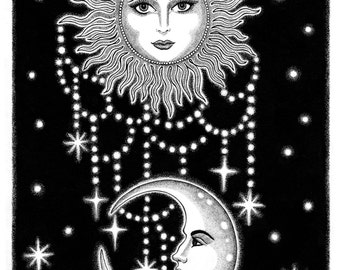 Sun & Moon Celestial Stars Print
