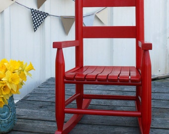 Red Wooden Kids Rocking Chair