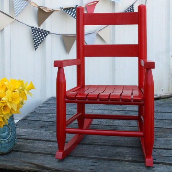 Red Rocking Chair Band ~ Red wooden kids rocking chair
