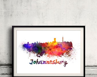 Johannesburg skyline in watercolor over white background with name of city 8x10 in. to 12x16 in. Poster art Illustration Print  - SKU 0249