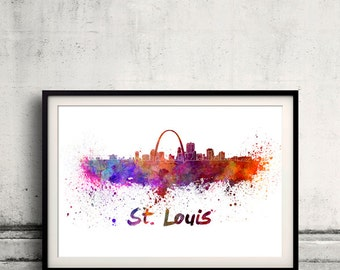 St Louis skyline in watercolor over white background with name of city 8x10 in. to 12x16 in. Poster Wall art Illustration Print  - SKU 0356